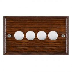 Hamilton Woods Ovolo Antique Mahogany 4 Gang Multi-way 250W/VA Dimmer with Satin Chrome Insert