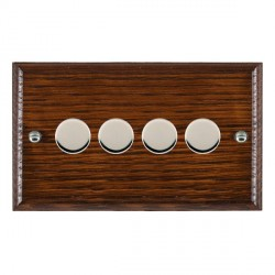 Hamilton Woods Ovolo Antique Mahogany 4 Gang Multi-way 250W/VA Dimmer with Bright Chrome Insert