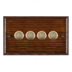 Hamilton Woods Ovolo Antique Mahogany 4 Gang Multi-way 250W/VA Dimmer with Antique Brass Insert