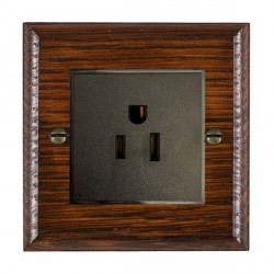 Hamilton Woods Ovolo Antique Mahogany 1 Gang 15A 127V American Unswitched Socket with Black Insert