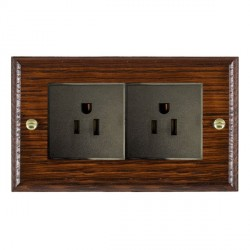 Hamilton Woods Ovolo Antique Mahogany 2 Gang 15A 127V American Unswitched Socket with Black Insert