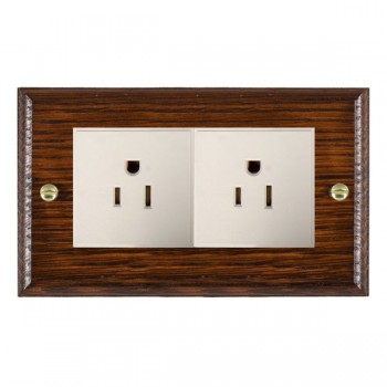 Hamilton Woods Ovolo Antique Mahogany 2 Gang 15A 127V American Unswitched Socket with White Insert
