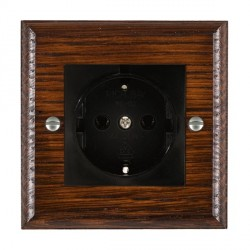 Hamilton Woods Ovolo Antique Mahogany 1 Gang 10/16A German Unswitched Socket with Black Insert