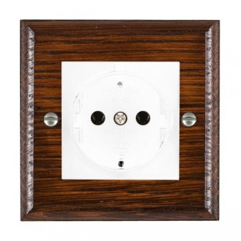 Hamilton Woods Ovolo Antique Mahogany 1 Gang 10/16A German Unswitched Socket with White Insert