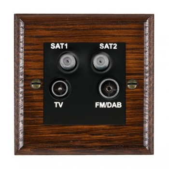 Hamilton Woods Ovolo Antique Mahogany 1 Gang TV + 1 Gang Satellite + 1 Gang Satellite + 1 Gang FM Outlet with Black Insert