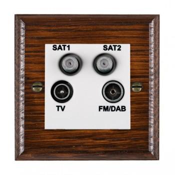 Hamilton Woods Ovolo Antique Mahogany 1 Gang TV + 1 Gang Satellite + 1 Gang Satellite + 1 Gang FM Outlet with White Insert