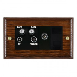 Hamilton Woods Ovolo Antique Mahogany 1 Gang TV, 2 x 1 Gang Satellite, 1 Gang FM, 1 Gang TV Slave, 1 Gang TV (Female) Outlet with Black Insert