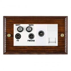 Hamilton Woods Ovolo Antique Mahogany 1 Gang TV, 2 x 1 Gang Satellite, 1 Gang FM, 1 Gang TV Slave, 1 Gang TV (Female) Outlet with White Insert