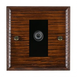 Hamilton Woods Ovolo Antique Mahogany 1 Gang Digital Satellite 'F' Type Outlet with Black Insert