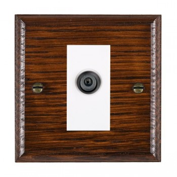Hamilton Woods Ovolo Antique Mahogany 1 Gang Digital Satellite 'F' Type Outlet with White Insert