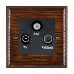 Hamilton Woods Ovolo Antique Mahogany 1 Gang TV + 1 Gang FM + 1 Gang Satellite Outlet with Black Insert
