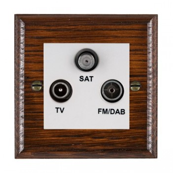 Hamilton Woods Ovolo Antique Mahogany 1 Gang TV + 1 Gang FM + 1 Gang Satellite Outlet with White Insert