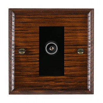 Hamilton Woods Ovolo Antique Mahogany 1 Gang TV (Female) Outlet with Black Insert