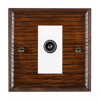 Hamilton Woods Ovolo Antique Mahogany 1 Gang TV (Female) Outlet with White Insert