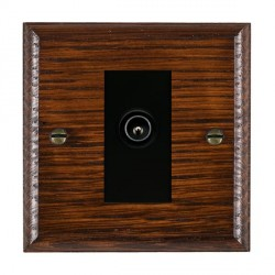 Hamilton Woods Ovolo Antique Mahogany 1 Gang TV (Male) Outlet with Black Insert