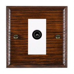 Hamilton Woods Ovolo Antique Mahogany 1 Gang TV (Male) Outlet with White Insert