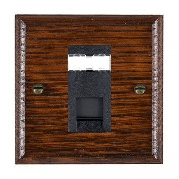 Hamilton Woods Ovolo Antique Mahogany 1 Gang RJ45 Cat 5E Unshielded Outlet with Black Insert