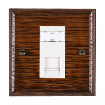 Hamilton Woods Ovolo Antique Mahogany 1 Gang RJ45 Cat 5E Unshielded Outlet with White Insert