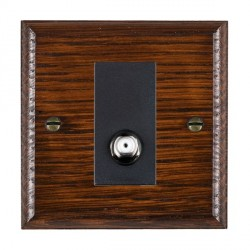 Hamilton Woods Ovolo Antique Mahogany 1 Gang Non Isolated Satellite Outlet with Black Insert