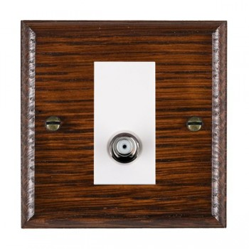Hamilton Woods Ovolo Antique Mahogany 1 Gang Isolated Satellite Outlet with White Insert