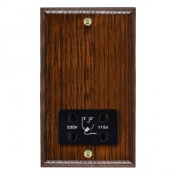Hamilton Woods Ovolo Antique Mahogany Dual Voltage Shaver Socket with Black Insert