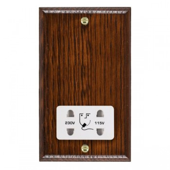 Hamilton Woods Ovolo Antique Mahogany Dual Voltage Shaver Socket with White Insert