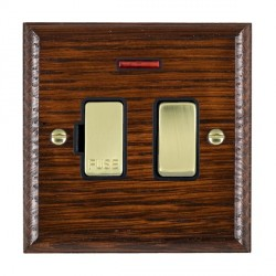 Hamilton Woods Ovolo Antique Mahogany 1 Gang 13A Fused Spur, Double Pole + Neon with Black Insert