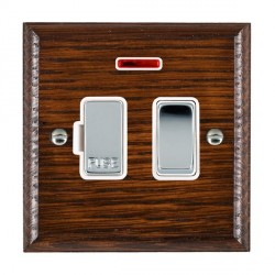 Hamilton Woods Ovolo Antique Mahogany 1 Gang 13A Fused Spur, Double Pole + Neon with White Insert