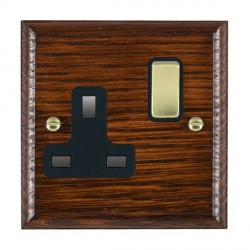 Hamilton Woods Ovolo Antique Mahogany 1 Gang 13A Switched Socket with Black Insert