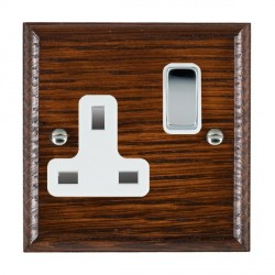 Hamilton Woods Ovolo Antique Mahogany 1 Gang 13A Switched Socket with White Insert