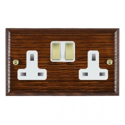 Hamilton Woods Ovolo Antique Mahogany 2 Gang 13A Switched Socket with White Insert