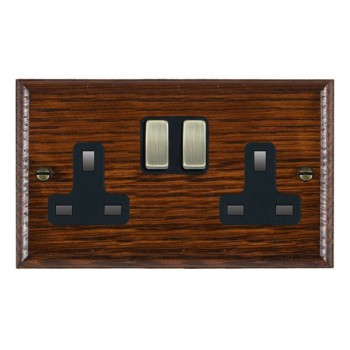 Hamilton Woods Ovolo Antique Mahogany 2 Gang 13A Switched Socket with Black Insert