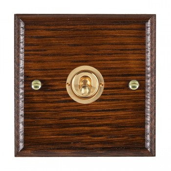 Hamilton Woods Ovolo Antique Mahogany 1 Gang 2 Way Toggle with Polished Brass Insert