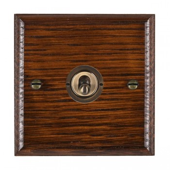 Hamilton Woods Ovolo Antique Mahogany 1 Gang 2 Way Toggle with Antique Brass Insert