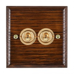 Hamilton Woods Ovolo Antique Mahogany 2 Gang 2 Way Toggle with Polished Brass Insert