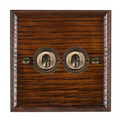 Hamilton Woods Ovolo Antique Mahogany 2 Gang 2 Way Toggle with Antique Brass Insert