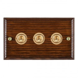 Hamilton Woods Ovolo Antique Mahogany 3 Gang 2 Way Toggle with Polished Brass Insert