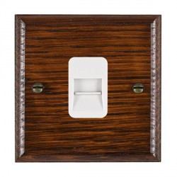 Hamilton Woods Ovolo Antique Mahogany 1 Gang Telephone Master Outlet with White Insert