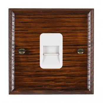 Hamilton Woods Ovolo Antique Mahogany 1 Gang Telephone Slave Outlet with White Insert