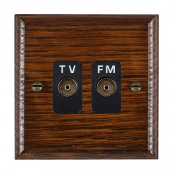 Hamilton Woods Ovolo Antique Mahogany 2 Gang Isolated TV/FM 1 in/2 out Outlet with Black Insert