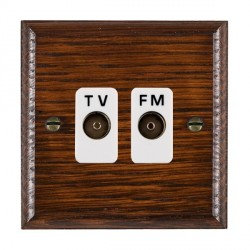 Hamilton Woods Ovolo Antique Mahogany 2 Gang Isolated TV/FM 1 in/2 out Outlet with White Insert