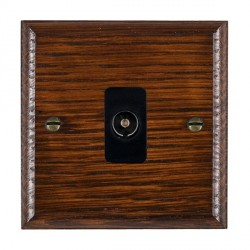 Hamilton Woods Ovolo Antique Mahogany 1 Gang Isolated TV 1 in/1 out Outlet with Black Insert
