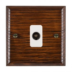 Hamilton Woods Ovolo Antique Mahogany 1 Gang Isolated TV 1 in/1 out Outlet with White Insert