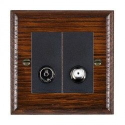 Hamilton Woods Ovolo Antique Mahogany 1 Gang TV + 1 Gang Satellite Outlet with Black Insert
