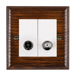 Hamilton Woods Ovolo Antique Mahogany 1 Gang TV + 1 Gang Satellite Outlet with White Insert