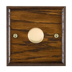 Hamilton Woods Ovolo Dark Oak 1 Gang 2 way 200VA Dimmer with Polished Brass Insert