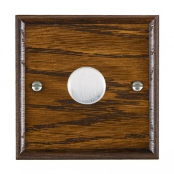 Hamilton Woods Ovolo Dark Oak 1 Gang 2 way 300VA Dimmer with Satin Chrome Insert