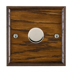 Hamilton Woods Ovolo Dark Oak 1 Gang 2 way 300VA Dimmer with Bright Chrome Insert