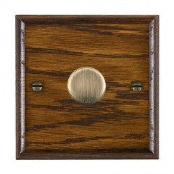 Hamilton Woods Ovolo Dark Oak 1 Gang 2 way 300VA Dimmer with Antique Brass Insert