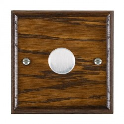 Hamilton Woods Ovolo Dark Oak 1 Gang 2 way 600W Dimmer with Satin Chrome Insert